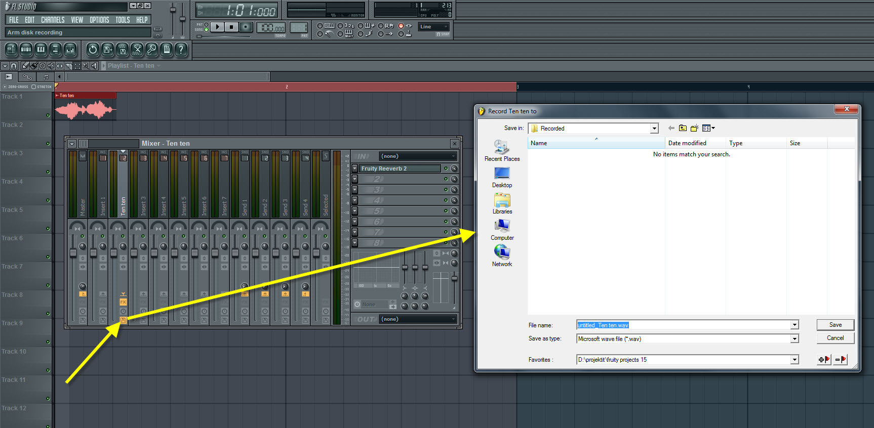 Arm The Mixer Track For Recording