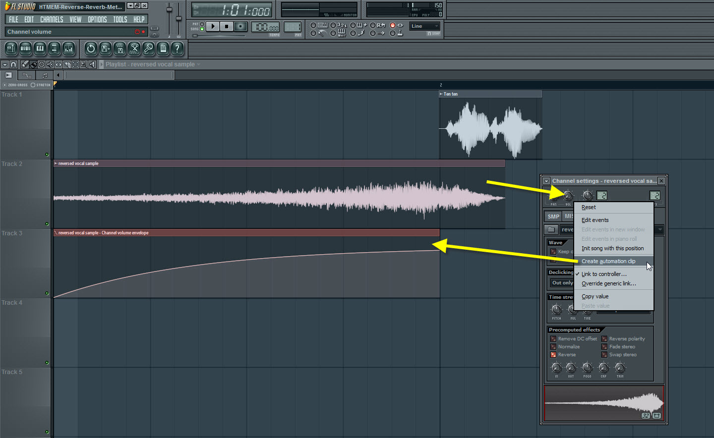 Create Automation Clip For The Reverse Reverbed Sample
