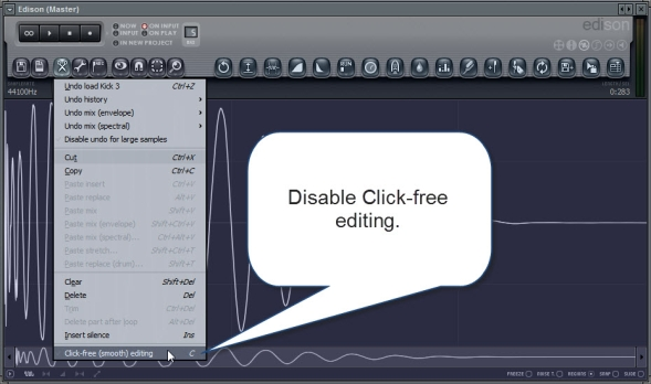 Disable Click Free Editing