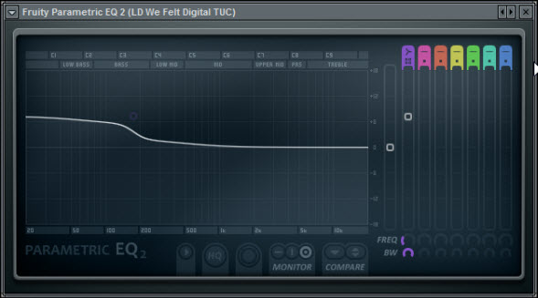 Fruity Parametric EQ 2 Settings Of The First Unit Of TAL-NoiseMaker