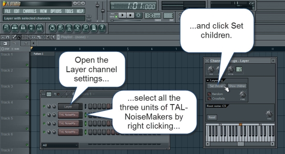 Set The TAL NoiseMakers As Children For The Layer Channel
