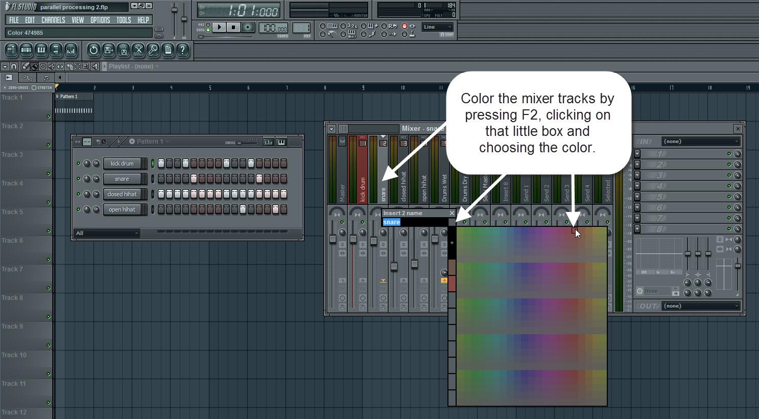 Color The Mixer Tracks