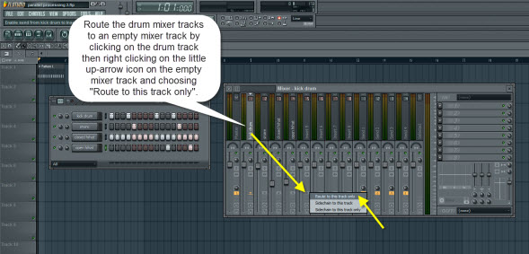 Routing The Drum Mixer Tracks To An Empty Mixer Track