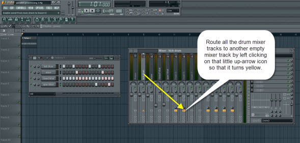Routing The Drum Mixer Tracks To Another Empty Mixer Track