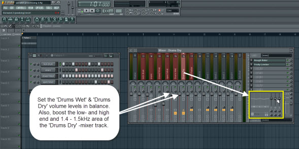 Set The Drums Wet And Drums Dry Mixer Track Levels In Balance