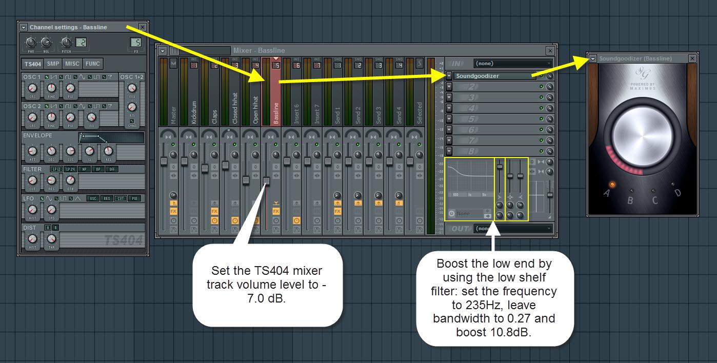 TS404 Bassline Synthesizer Mixer Settings