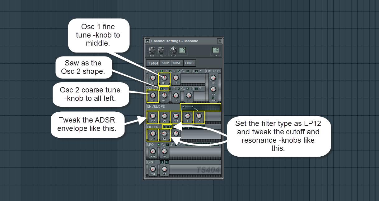 TS404 Bassline Synthesizer Settings
