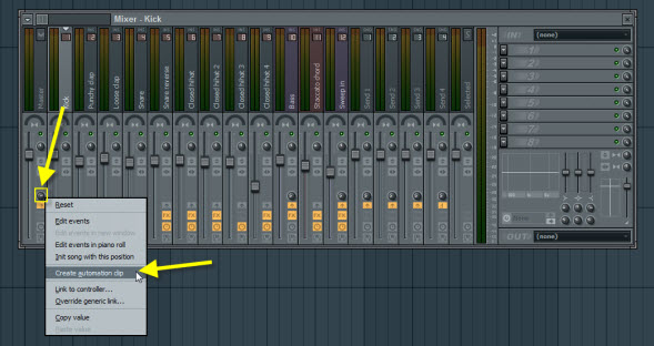 Create Automation Clip For Kick Send To Master Volume Knob