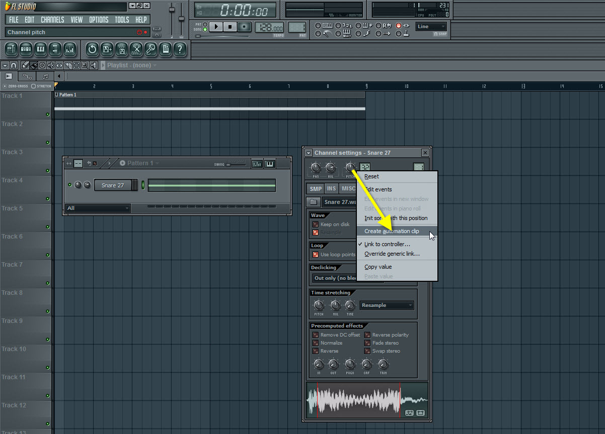 Create Automation Clip For The Pitch Knob
