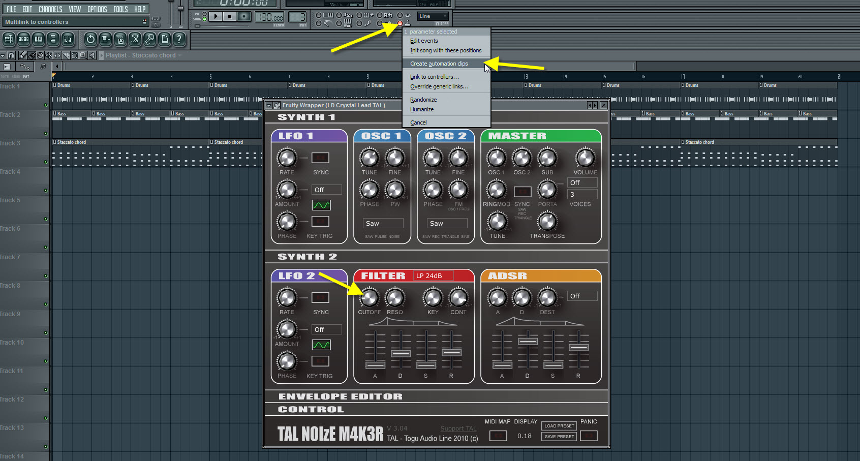 Create Automation Clip For The TAL NoiseMakers Filter Cutoff
