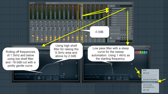 Mixer Settings For The White Noise Sweep In