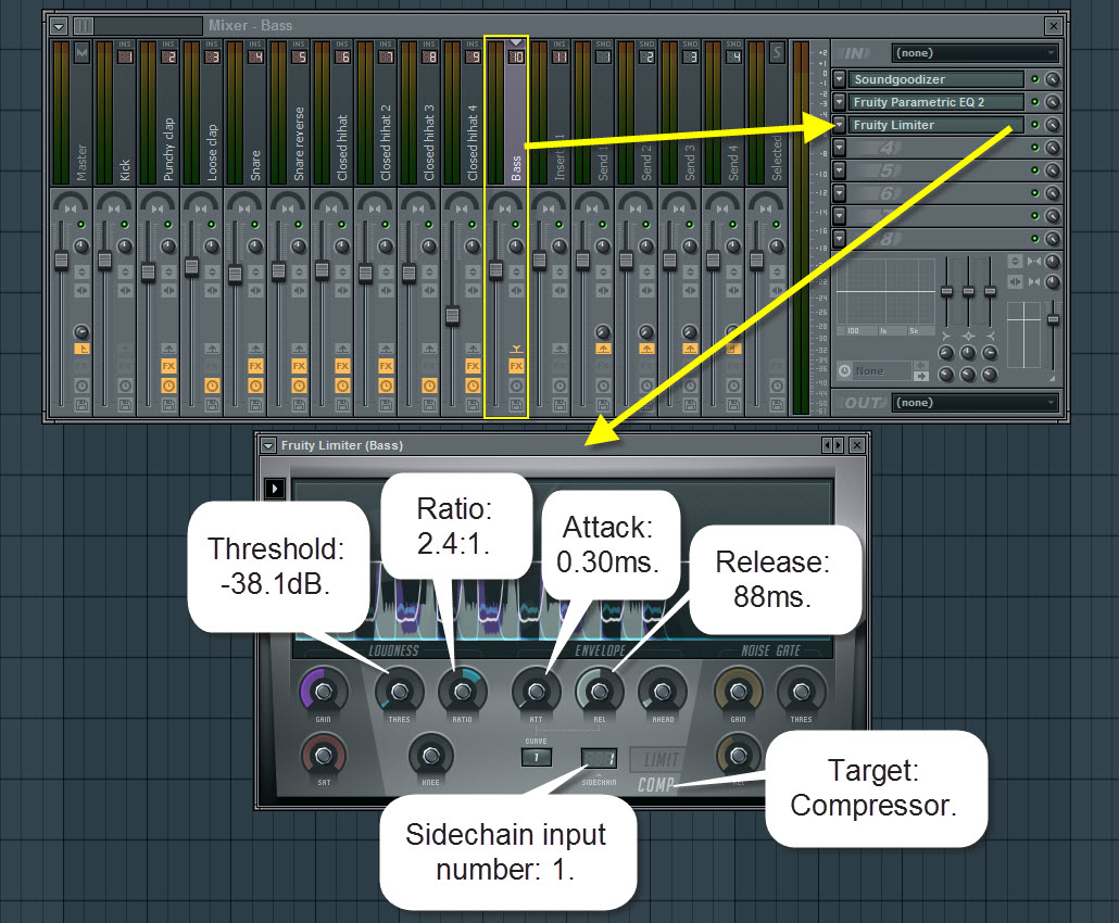 Sidechain Compression Settings For The Bass