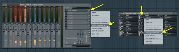 Create Automation Clips For Flanger