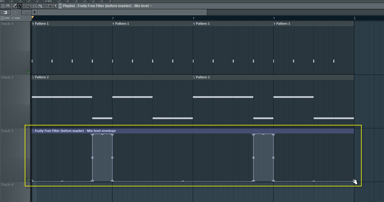 Fruity Free Filter Mix Level Automation Envelope