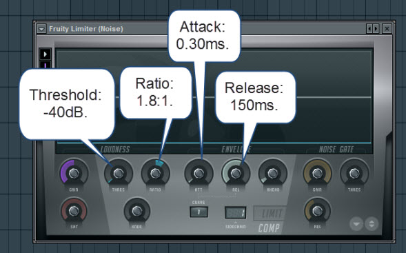 Fruity Limiter Settings For The Noise