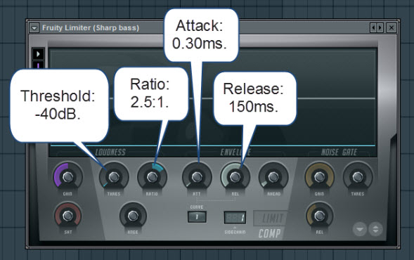 Fruity Limiter Settings For The Sharp Bass