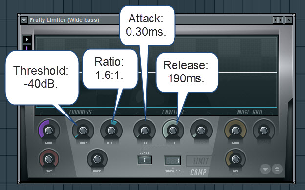 Fruity Limiter Settings For The Wide Bass