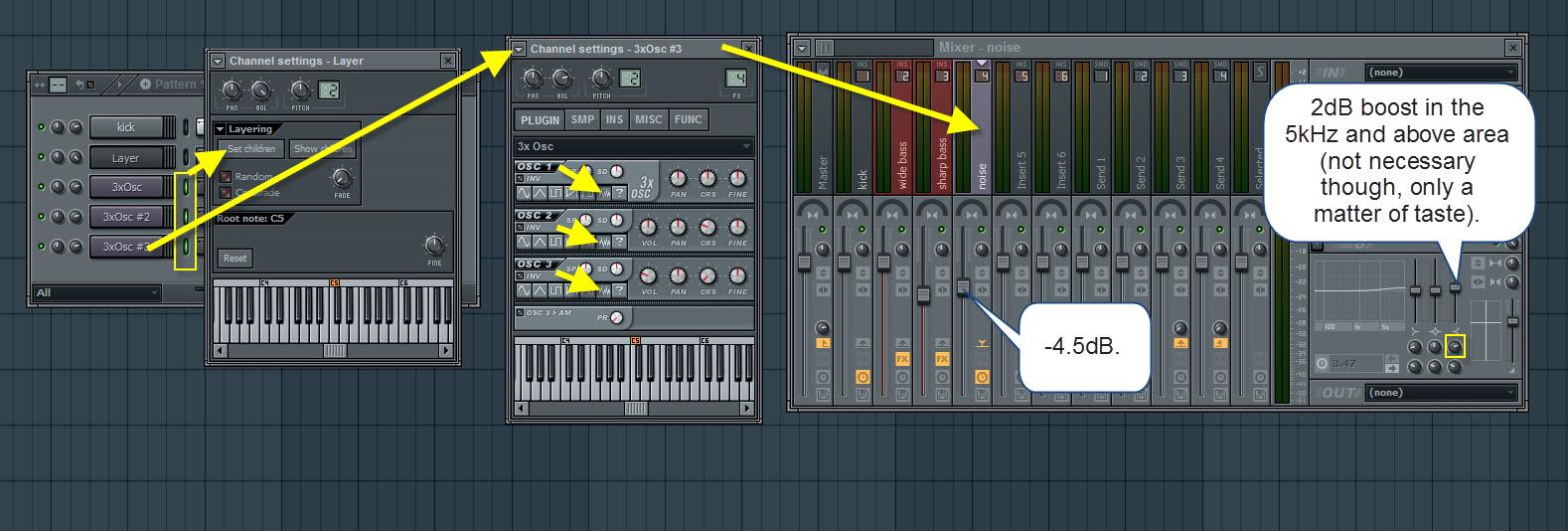Noise 3xOsc And Mixer Settings