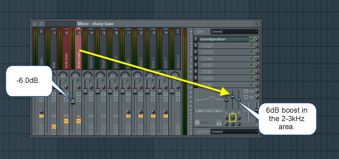 Sharp Bass Adjusted Mixer Settings