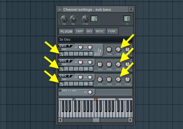 Sub Bass Oscillator Settings