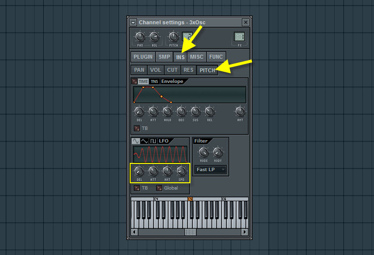 Pitch Modulation Settings For Vibrato
