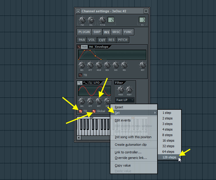 Filter Cutoff LFO Modulation Settings For The First Pad Sound