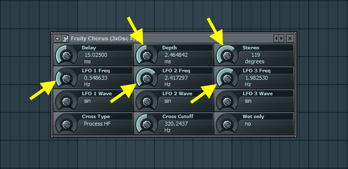 Fruity Chorus Settings For First Pad Sound
