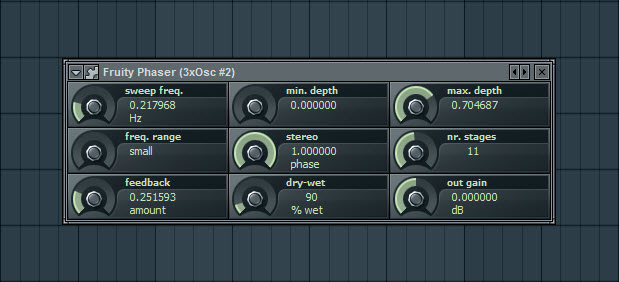 Fruity Phaser Settings For First Pad Sound