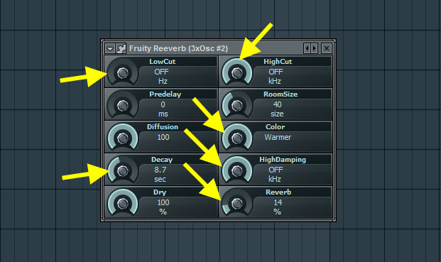 Fruity Reeverb Settings For First Pad Sound