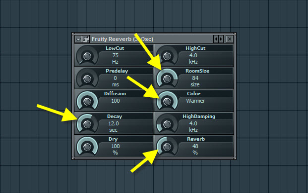 Fruity Reeverb Settings For Pluck Sound