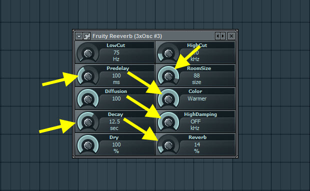 Fruity Reeverb Settings For Second Pad Sound