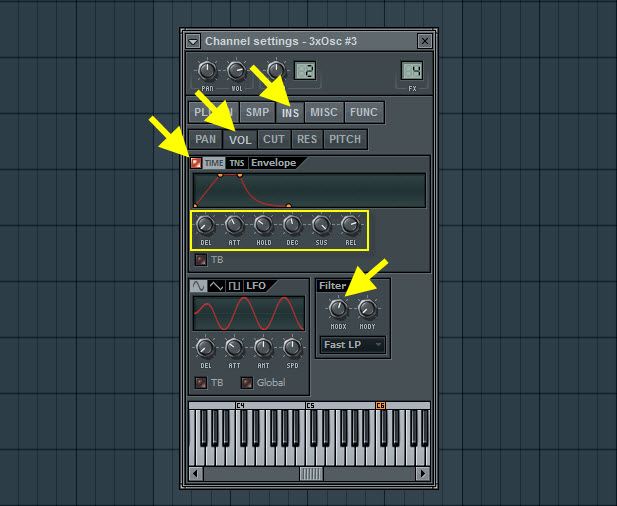 Volume Envelope And Filter Settings For Second Pad Sound
