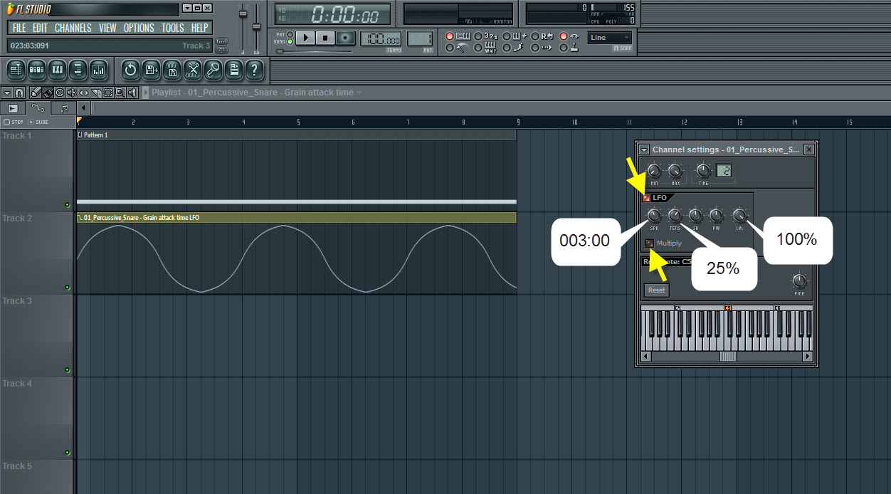 LFO Settings For Grain Attack Time Automation Clip