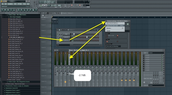 Closed Hihat Mixer Track Settings