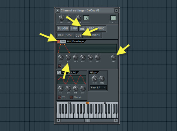 Synth Sound Cutoff Envelope Settings
