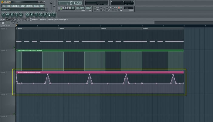 Air Horn Channel Pitch Automation Envelope