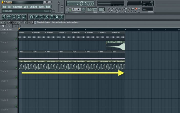 Copying And Pasting Bass Pattern And Channel Volume Automation Clip