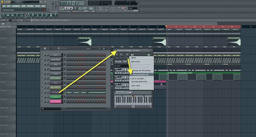 Creating Another Automation Clip For The Air Horn Channel Pitch