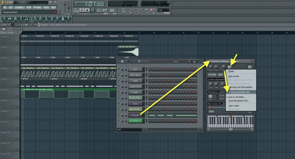 Creating Automation For The Air Horn Channel Pitch