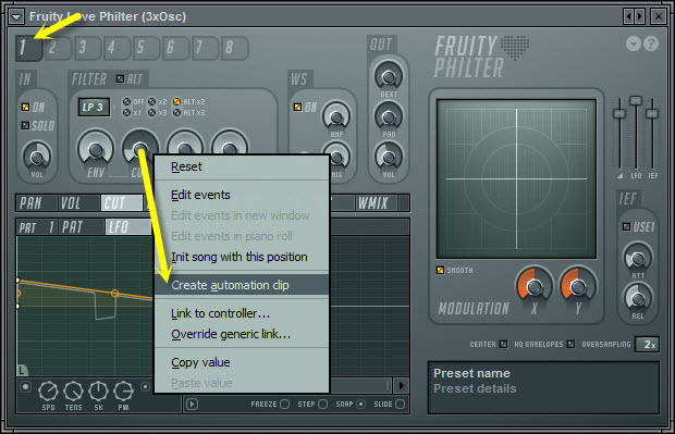 Automate Filter Cutoff Frequency
