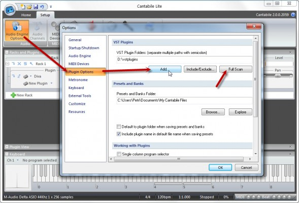 Select Your VST Plugins Folder And Do A Scan