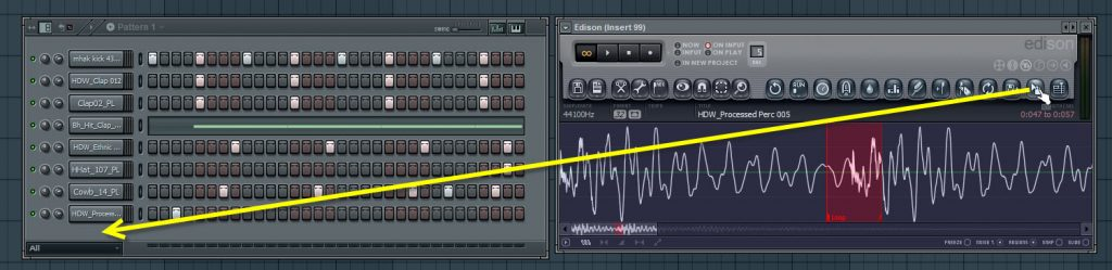 Dragging The Selection To Step Sequencer