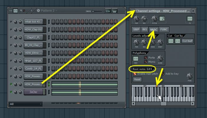 Setting The Bass Sound Root Key