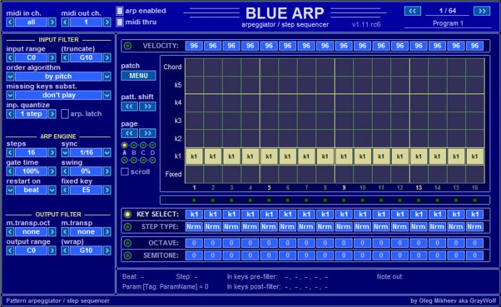 BlueARP | Free Arpeggiator Plugin By Oleg Mikheev!