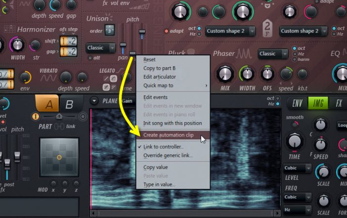 Create Automation Clip For The Unison Pitch Thickness