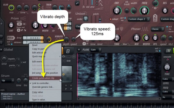 Create Automation Clip For The Vibrato Depth