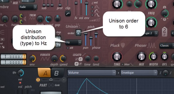 Unison Settings For Part A