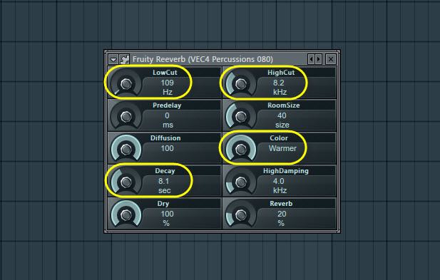 Percussion Sound Reverb Settings