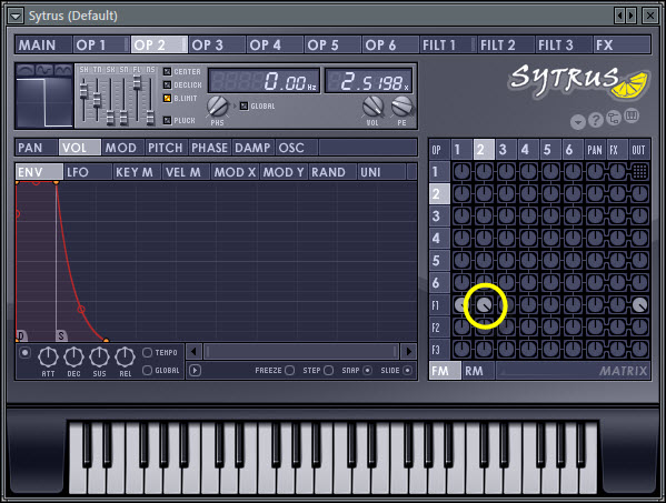 Operator 2 To Filter 1 Mix Level In Modulation Matrix