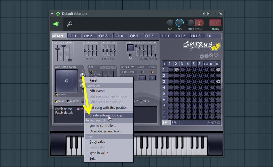 Creating Automation Clip For The Modulation X Controller Knob